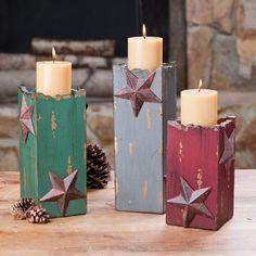 Western Star Candle Holder Trio