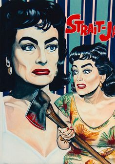 'STRAIT-JACKET JOAN CRAWFORD' Original art by Robert Rechter (copyright) (please credit the artist when pinning to pinterest)  hand-painted in gouache, pencil & Conté chalk on board. 1995 (minkshmink collection)