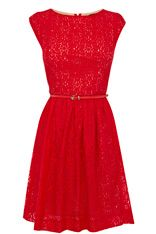 Lace Zip Back Skater Dress Red