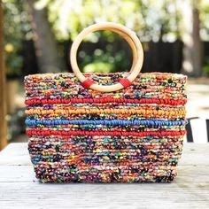 Confetti Tote Bag Locker Hooking Kit - Multi with Natural Wood Handles Crochet Fabric, Crochet Tote, Crochet Handbags, Locker Hooking, Fabric Stamping, Rope Crafts, Crazy Colour, Jute Twine, Fabric Strips