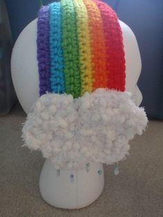 crochet ear covers muff rainbow cloud headband headpiece gift