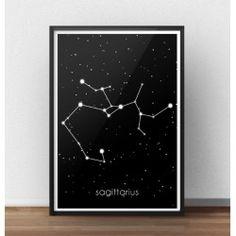 Plakat z gwiazdozbiorem Strzelca (Sagittarius)  http://scandiposter.pl/plakaty/146-plakat-ze-znakiem-zodiaku-strzelec.html