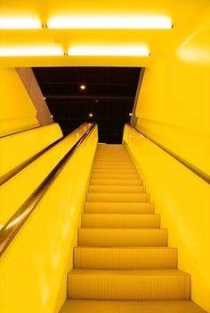 stairs to neon yellow heaven Mellow Yellow, Neon Yellow, Black N Yellow, Color Yellow, Yellow Theme, Yellow Walls, Yellow Stairs, Aesthetic Colors, Yellow Submarine