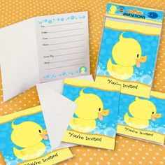 Ducky Duck - Set of 8 Fill In Baby Shower Invitations $4.99