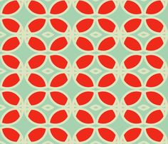 LOVE THESE RETRO COLORS!!!  circles_turquoise fabric by holli_zollinger on Spoonflower - custom fabric