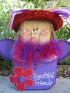 Red Hat Angel Patio Person by SunburstOutdoorDecor on Etsy, $20.00