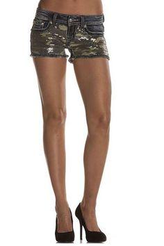 Miss Me Jeans Women's Camo Sequin Denim Shorts