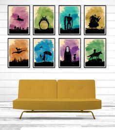 Hayao Miyazaki Minimalist Movie Poster Set \ 8 Poster \ Totoro, Howl's Moving Castle, Castle in the Sky, Kiki's Delivery Service etc. by moonposter on Etsy https://www.etsy.com/listing/197644954/hayao-miyazaki-minimalist-movie-poster