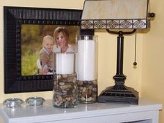 great idea,dollar store rocks,vase,and candle.cutee