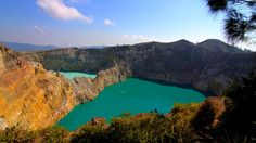 One unique cluster of lakes is found in the craters of Mount Kelimutu on the Indonesian island of Flores. Tiwu Ata Mbupu (Lake of Old People), Tiwu Nuwa Muri Koo Fai (Lake of Young Men and Maidens) and Tiwu Ata Polo (Lake of Evil Spirits) all change colors, from blue to bright green to dark brown or red. (Wikimedia Commons/Michael Day)