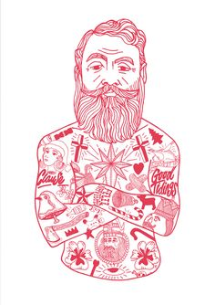Limited Edition prints and paper rarities from Rich Fairhead & El Famoso collective. Tattoo Illustration, Character Illustration, Graphic Design Illustration, Modern Primitives, Beard Art, Traditional Ink, Arte Pop, Fantastic Art, Body Art Tattoos
