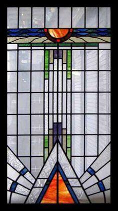 Art Deco Stained Glass Window via Kim Chabet Antique Stained Glass Windows, Stained Glass Designs, Stained Glass Panels, Stained Glass Projects, Stained Glass Patterns, Leaded Glass, Stained Glass Art, Mosaic Glass, Modern Stained Glass
