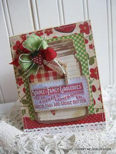 cottage mason jar card- GARDEN FRESH- vintage STRAWBERRY button- handmade stitched card