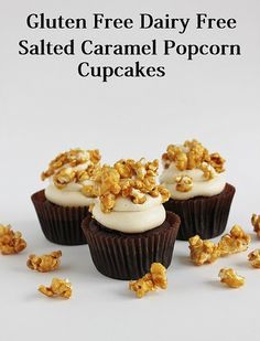 Gluten Free Dairy Free Salted Caramel Popcorn Cupcakes by lydiabakes, via Flickr