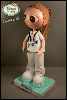 Fofucha enfermera con coleta Foam Crafts, Arts And Crafts, Box Surprise, Diy Cardboard, Biscuit, Scrapbooking, Cold Porcelain, Diy Doll, Wooden Diy