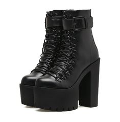 Gdgydh Fashion Motorcycle Boots Women Leather Spring Autumn Metal Buckle High Heels Shoes Zipper Black Ankle Boots Woman Lacing We offers a wide selection of trendy style women's clothing. Affordable prices on new tops, dresses, outerwear and more. Black Platform Boots, Black Ankle Boots, Platform Shoes, Ankle Booties, Boots With Heels, Boots For Short Women, Boots Women, Womens High Heel Boots, High Boots