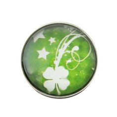 "Chunk Snap Charm Four Leaf Clover Irish Shamrock 20mm 3/4"" Diameter"