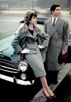 Simone in a wool ensemble with a fur-lined coat by Jean Patou, gentleman's coat by Max Evzeline, car is a convertible grand luxe 403 Peugeot, Paris 1957 Photo by Philippe Pottier Vintage Glamour, Vintage Beauty, 1950s Style, Vintage Outfits, Vintage Dresses, 1950s Dresses, Vintage Clothing, 1950s Fashion, Vintage Fashion