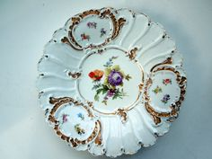 MEISSEN Cabinet Plate Dresden Flowers Medallions Heavy Gilding Ruffled Rims HP Wedding Anniversary Birthday Collector Gift by ColorfullGifts on Etsy