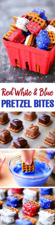 Red White and Blue Pretzel Bites
