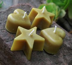 Mini Hearts and Stars Beeswax Candles
