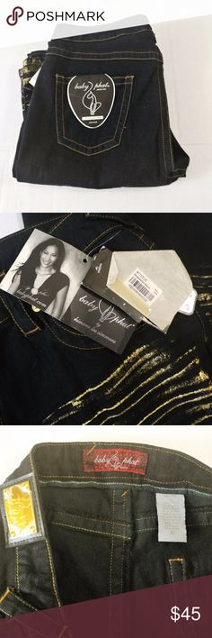 """NWT Baby Phat  Black Wash Jeans Stretch Awesome Kimora Lee Simmons black wash with gold tiger stripes  stretch denim jeans brand new never worn! Measurements are: waist 18"""" flat across..inseam 33"""" long. I ship same or next day fast!! Baby Phat Jeans"""