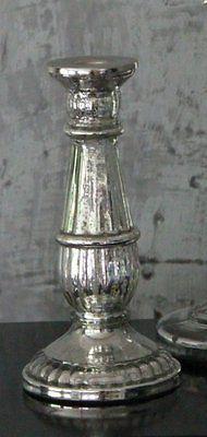 Kerzenständer Glas Bauernsilber Deko Shabby Chic Vintage Kerzenhalter Landhaus
