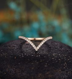 Diamond Curved wedding band, Vintage rose gold round cut moissanite Chevron wedding, Antique half eternity Matching Promise Anniversary ring