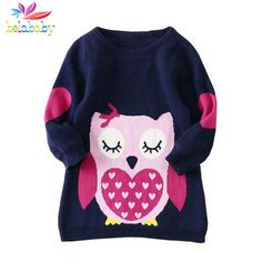 $9.16 (Buy here: https://alitems.com/g/1e8d114494ebda23ff8b16525dc3e8/?i=5&ulp=https%3A%2F%2Fwww.aliexpress.com%2Fitem%2Fgirls-autumn-sweater-2015-new-fashion-children-long-sleeve-knitting-warm-clothing-kids-cartoon-cotton-sweaters%2F32498119835.html ) Belababy Brands Baby Girls Sweaters Winter 2017 New Girl Long Sleeve Knitted Clothes Kids Autumn Cartoon Owl Sweater For Girls for just $9.16
