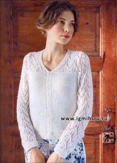 Белый пуловер с ажурным узором. Спицы
