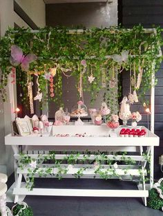 Fairy themed party. Love the idea for the dessert table