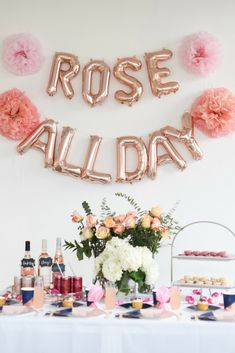 Ros All Day Party Wine Party Ros Party Bridal Party Idea Summer Party Parfait pour l t Wine Party Decorations, Bridal Shower Decorations, Birthday Party Decorations, Bachlorette Party, Bachelorette Weekend, Drink Pink, Wein Parties, Birthday Brunch, Wine Birthday