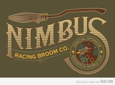 """""""Potter and Nimbus Brooms"""" by Steve Thomas. This Harry Potter shirt was inspired by the super fast brooms those crazy Quidditch players fly on. Feel like you are sponsored by the best racing broom company on the planet by sporting this tshirt. Magie Harry Potter, Deco Harry Potter, Theme Harry Potter, Harry Potter Birthday, Harry Potter World, Hogwarts, Ron Y Hermione, J'ai Dit Oui, Steve Thomas"""