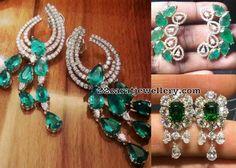 Diamond Emerald Drops Earrings - Jewellery Designs