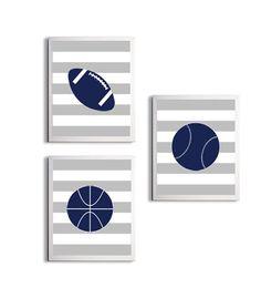 Boy Chevron sports Nursery | Nursery Sports Football Basketball Baseball by ZeppiPrints on Etsy, $ ...