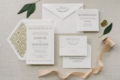 Aerialist Press // Coronet Letterpress Wedding Invitation // Elegant, Monogram, Natural