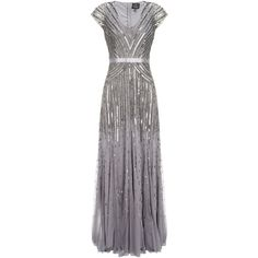 Turn heads at your next event with this sparkling evening gown from Adrianna Papell. This elegant dress has a distinctly vintage feel, it features a fully lin…