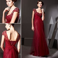 Elegant Couture Maroon Deep Neck Beaded Strap Ball Gown - 1811307