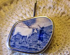 Cow  Man Broken China Necklace Pendant  Chaney Sterling Blue  Pendant by MaroonedJewelry on Etsy