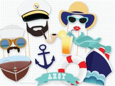 Ahoy, set sail with this sailor-themed nautical photo booth props! This listing is for a printable PDF of my cruise photobooth props. There are 17