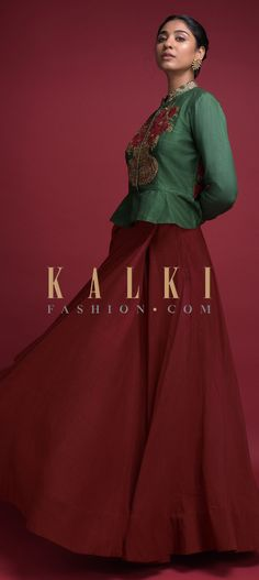 Buy Online from the link below. We ship worldwide (Free Shipping over US$100)  Click Anywhere to Tag Ruby Red Skirt And Fern Green Peplum Top In Raw Silk With Embroidered Flower Pot Motif Online - Kalki Fashion Ruby red skirt in raw silk.Teamed with a contrasting fern green peplum top in raw silk.