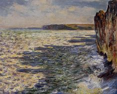 "artist-monet: ""Waves and Rocks at Pourville, 1882, Claude Monet """