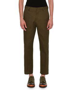 VALENTINO Textured Straight-Leg Pants, Olive. #valentino #cloth #