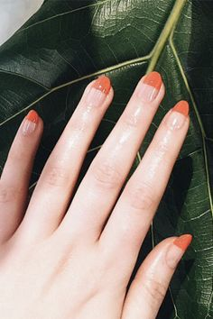 Trend: The Half-Dip Get more bang for your buck with this design, where you can invest in a gel manicure without it growing out in, like, five minutes.