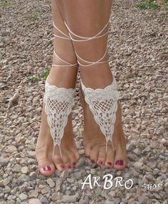 Pies descalzos Crochet sandalias sandalias sin base marfil pie