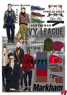 Autumn/ Winter 2014-15 trends: Key Items board. #trend #menswear #preppy