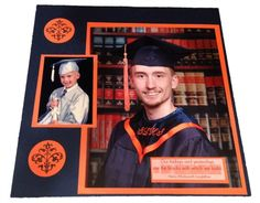 High School Graduation Scrapbook Layout. This layout features a preschool graduation photo as well as a high school graduation photo. Check out post for more ideas for prom scrapbook layouts, getting a license scrapbook page, and more.