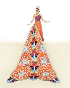 Ashley Helen Canty, Duchess of Exuberant Celebrations: This ensemble celebrates the festivals of the Bahamas. The gown's bodice is beaded in orange, pink and turquoise sequins; the skirt in iridescent bugle beads. The train has more than 200 triangles jeweled in Austrian crystals sewn in circular designs to look like pinwheels. She is the daughter of Mr. and Mrs. Kevin Canty.