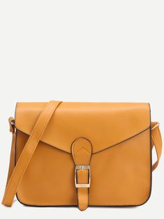 Bags by BORNTOWEAR. Yellow Faux Leather Flap Strap Buckle Bag