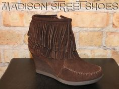 Minnetonka Double Fringe Ankle Boot in Chocolate